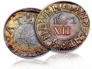 три пенса Америка 1652