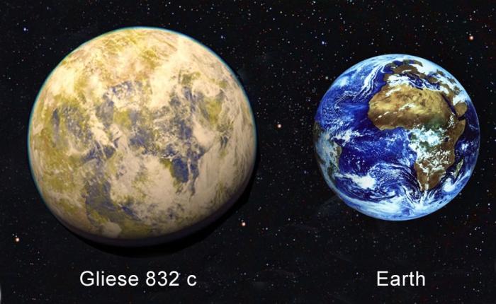 Gliese 832 та Земля