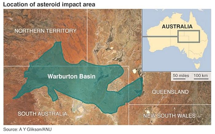 падіння астероїда австралія