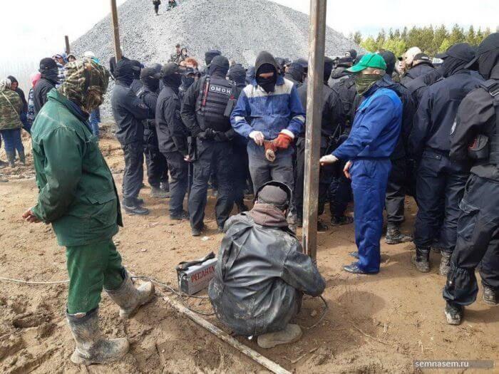 затримання активістів біля станції Шиес